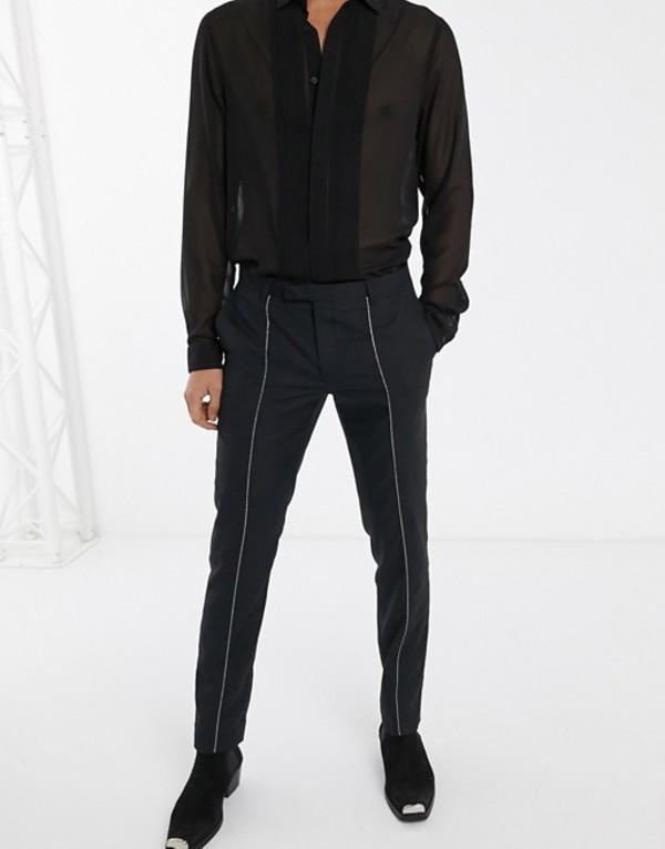 ツイステッド テイラー メンズ カジュアルパンツ ボトムス Twisted Tailor super skinny pants with silver piping in black Black
