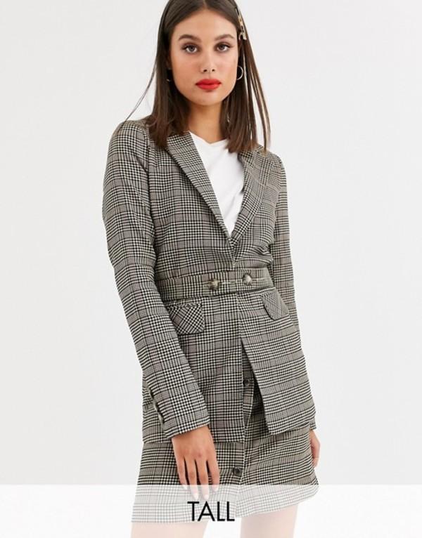 ワイエーエス レディース ジャケット・ブルゾン アウター Y.A.S Tall Silla long sleeve check blazer two-piece Check