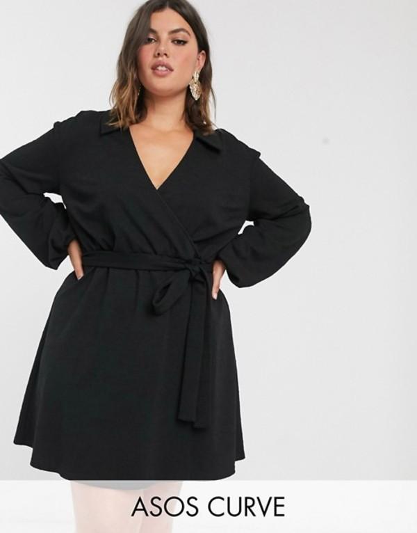 エイソス レディース ワンピース トップス ASOS DESIGN Curve wrap shirt smock dress in texture Black