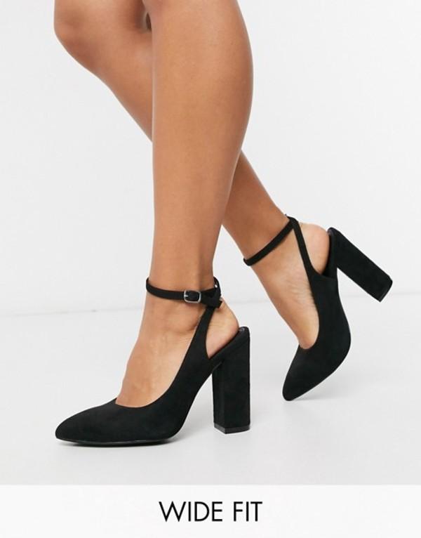 トリュフコレクション レディース ヒール シューズ Truffle Collection wide fit pointed block heeled shoes in black Black micro