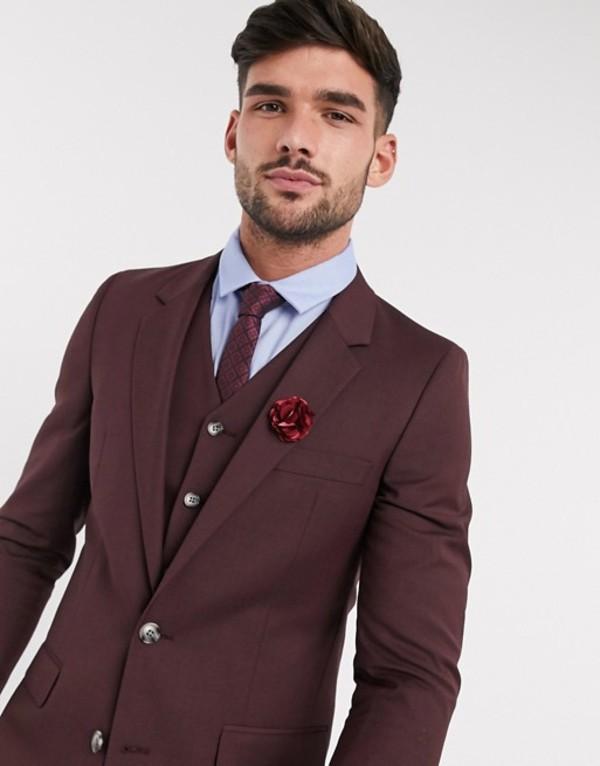 エイソス メンズ ジャケット・ブルゾン アウター ASOS DESIGN wedding slim suit jacket in burgundy Burgundy