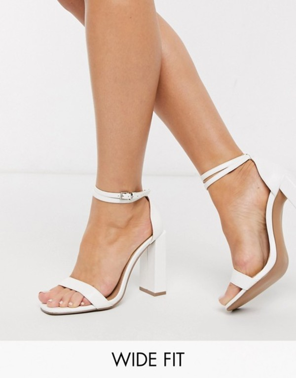 エイソス レディース ヒール シューズ ASOS DESIGN Wide Fit Notice barely there heeled sandals in white White