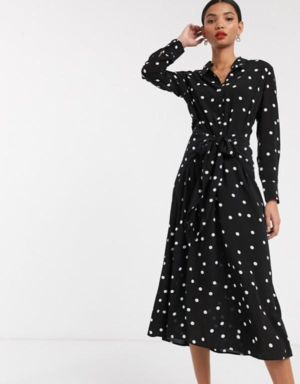 アンドアザーストーリーズ レディース ワンピース トップス & Other Stories polka dot tie-front midi dress in black Black polka dot