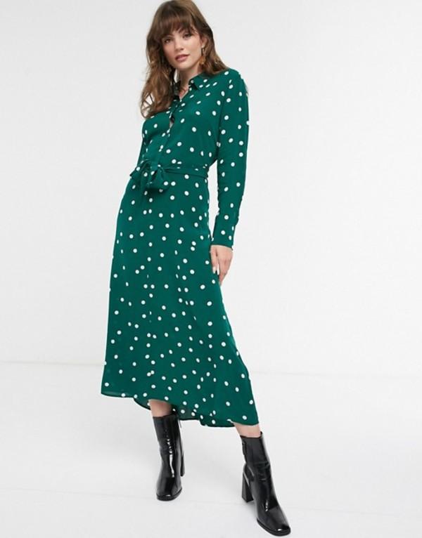 アンドアザーストーリーズ レディース ワンピース トップス & Other Stories polka dot tie-front midi shirt dress in dark green Green polka dot
