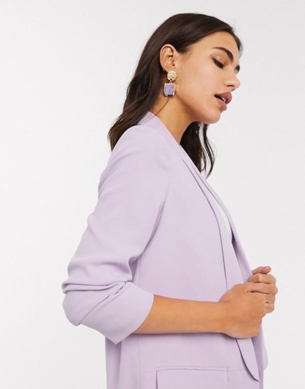 ストラディバリウス レディース ジャケット・ブルゾン アウター Stradivarius ruched sleeve blazer in lilac Purple