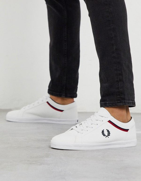 フレッドペリー メンズ スニーカー シューズ Fred Perry Baseline canvas sneakers in white White