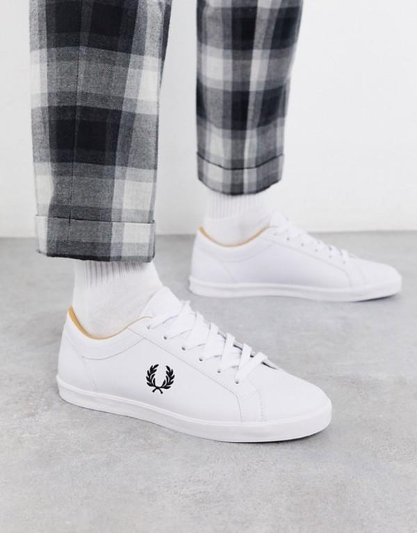 フレッドペリー メンズ スニーカー シューズ Fred Perry Baseline leather sneakers in white White