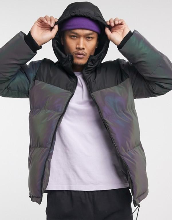 ベルシュカ メンズ ジャケット・ブルゾン アウター Bershka reflective puffer jacket Silver
