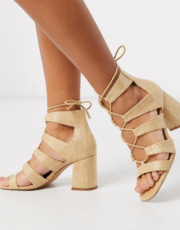 ストラディバリウス レディース サンダル シューズ Stradivarius raffia lace up sandal Beige