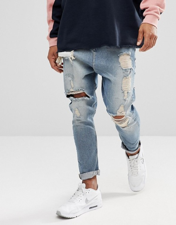 エイソス メンズ デニムパンツ ボトムス ASOS DESIGN drop crotch jeans in vintage light wash blue with heavy rips Light wash vintage