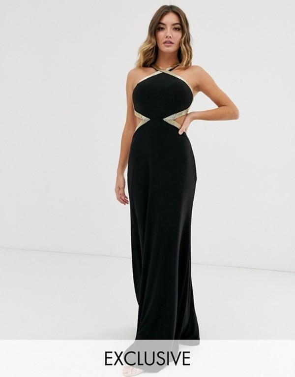 フォーエバーユニーク レディース ワンピース トップス Forever Unique Exclusive high neck embellished maxi gown in black Black
