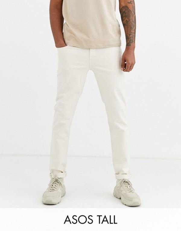 エイソス メンズ デニムパンツ ボトムス ASOS DESIGN Tall tapered jeans in ecru White
