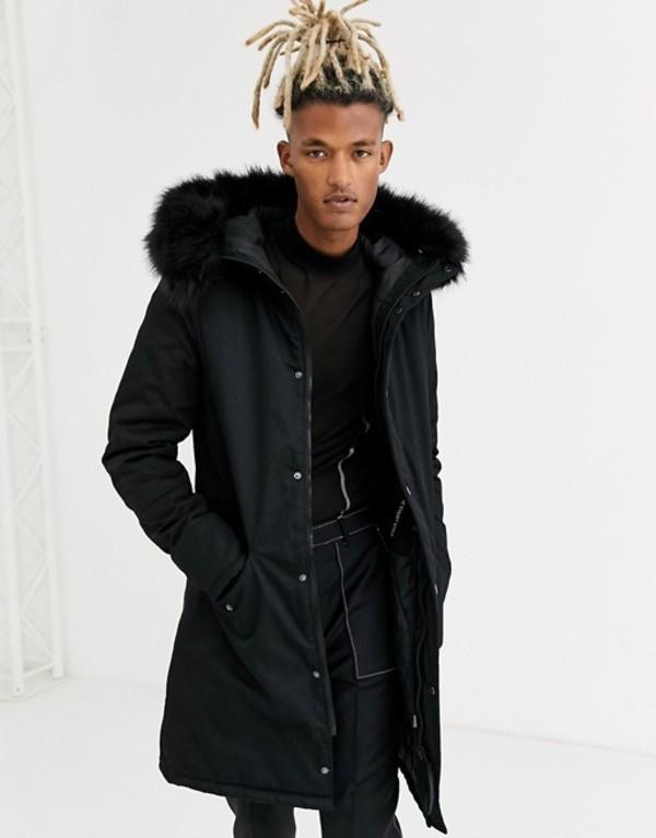 シックスジュン メンズ コート アウター Sixth June fishtail parka coat in black with faux fur hood Black