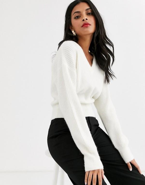 アンドアザーストーリーズ レディース ニット・セーター アウター & Other Stories v neck crop sweater in cream Gray cream