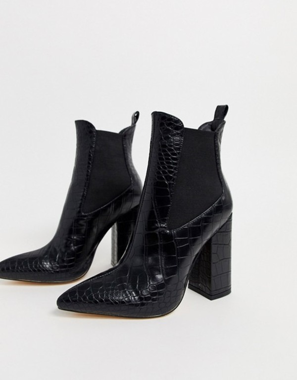 シミ レディース ブーツ・レインブーツ シューズ Simmi London Joyce heeled ankle boots in black croc Black croc