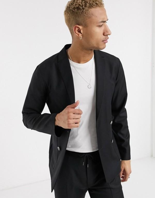 エイソス メンズ ジャケット・ブルゾン アウター ASOS DESIGN slim double breasted soft tailored suit jacket in black 100% wool Black