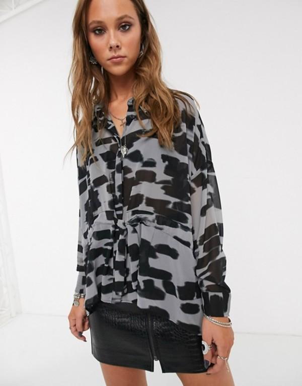 レリジョン レディース シャツ トップス Religion form oversized shirt Gray/black