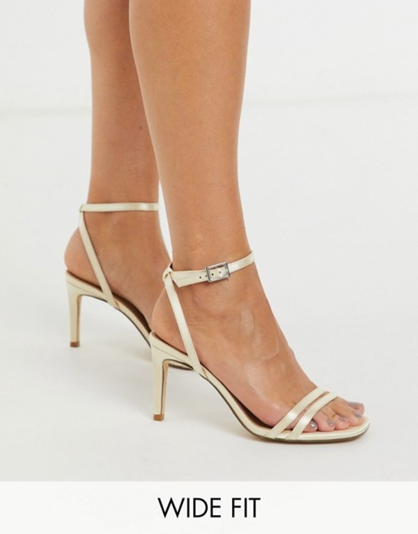 トリュフコレクション レディース サンダル シューズ Truffle Collection wide fit bridal square toe strappy heeled sandals in ivory Ivory satin