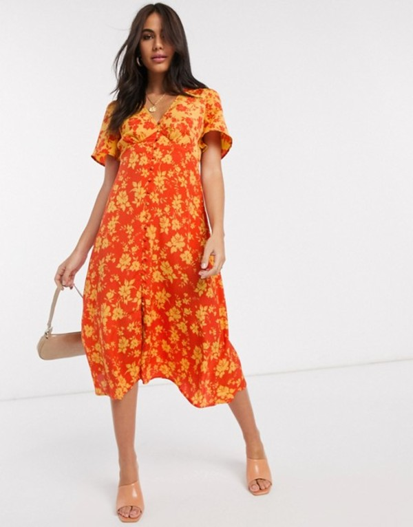ネオンローズ レディース ワンピース トップス Neon Rose button front midi dress in mixed floral print Orange floral