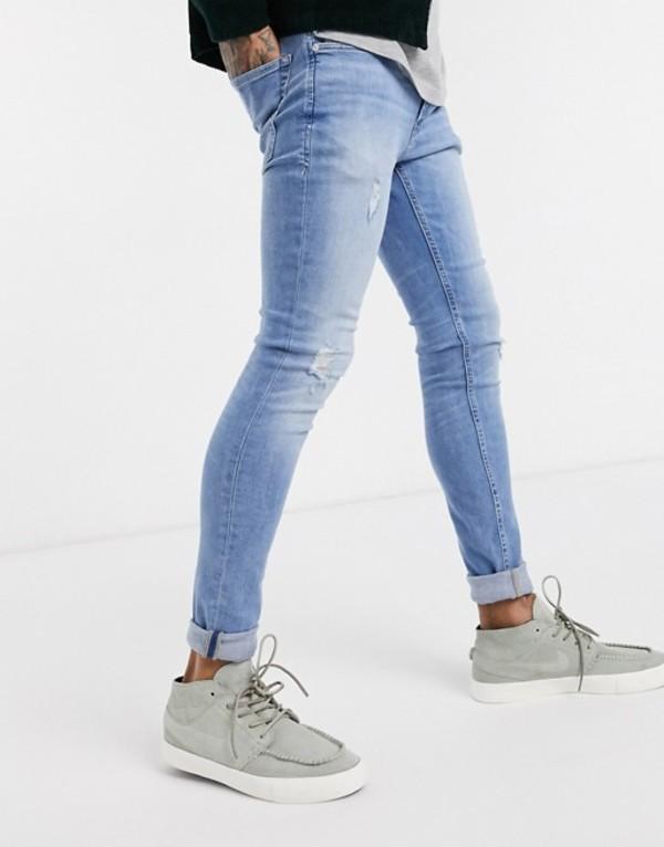 ジャック アンド ジョーンズ メンズ デニムパンツ ボトムス Jack & Jones Intelligence spray on skinny fit super stretch abrasion jeans in light blue Blue denim