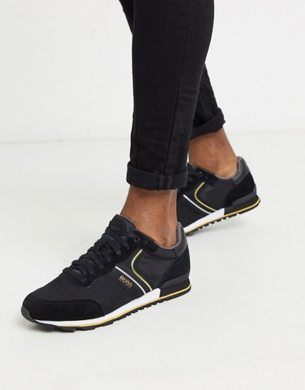 ボス メンズ スニーカー シューズ BOSS Parkour nylon sneakers in black Black
