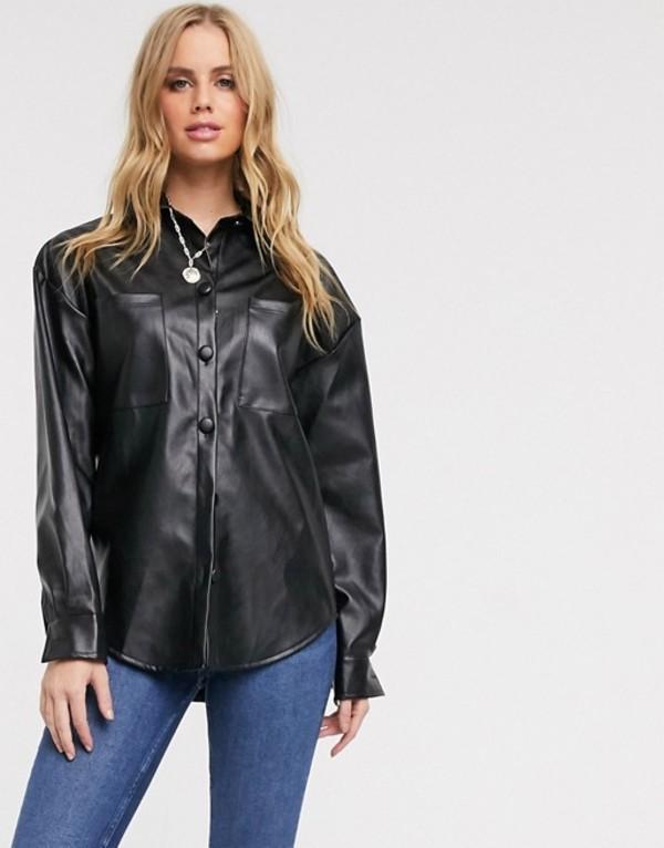 インザスタイル レディース シャツ トップス In The Style pu oversized shirt in black Black