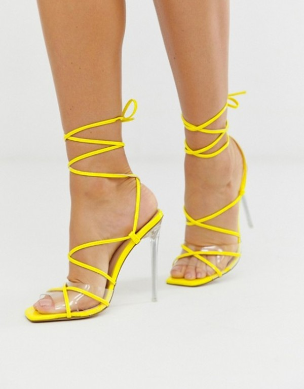 シミ レディース サンダル シューズ Simmi London Hailey yellow patent tie up sandals Yellow patent clear