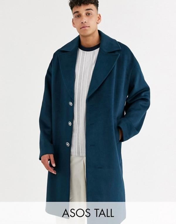 エイソス メンズ コート アウター ASOS WHITE Tall overcoat in wool mix Reflecting pond