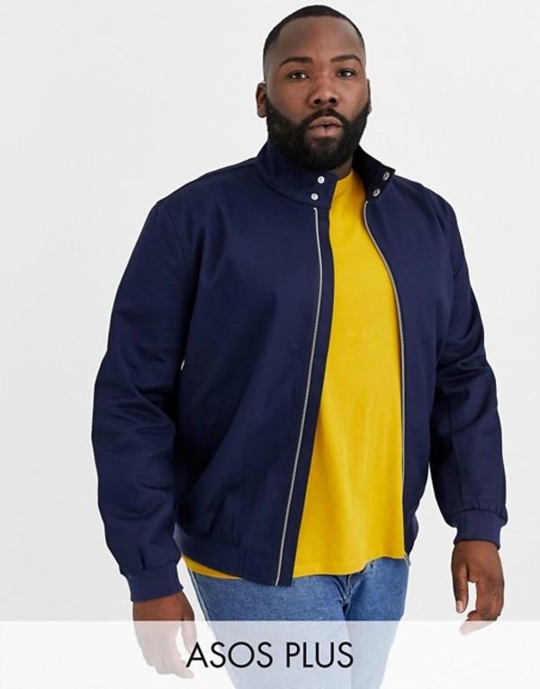 エイソス メンズ ジャケット・ブルゾン アウター ASOS DESIGN Plus harrington jacket with funnel neck in navy Navy