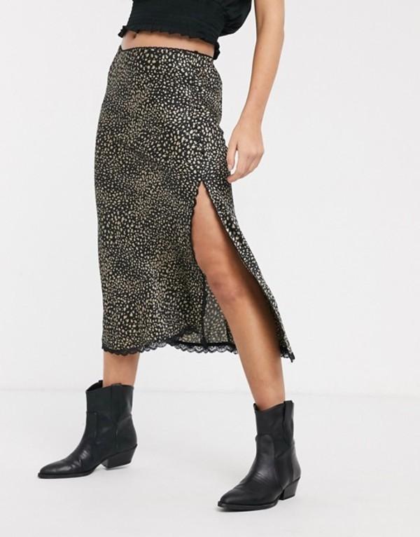 エモリー パーカー レディース スカート ボトムス Emory Park midi skirt with lace trim in mini leopard Multi