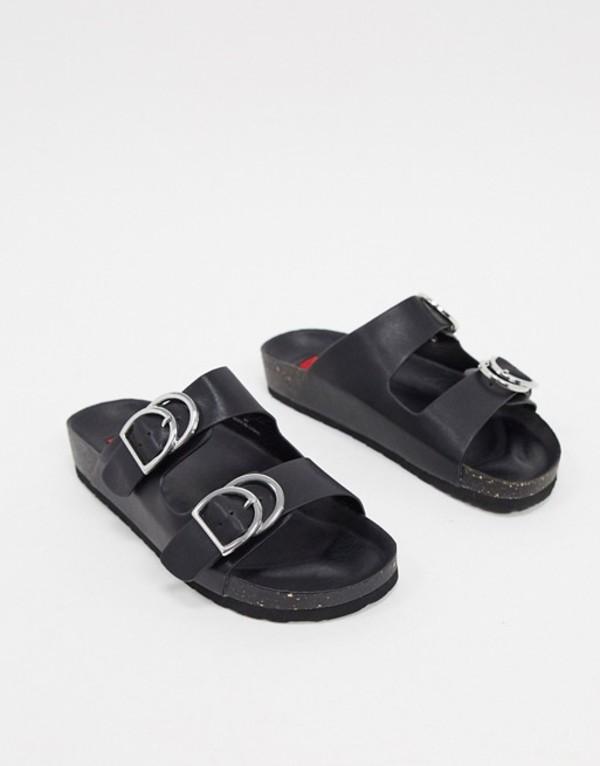 ロンドンレベル レディース サンダル シューズ London Rebel double buckle footbed sandal in black Black