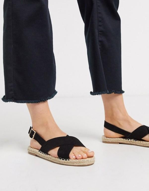 トリュフコレクション レディース サンダル シューズ Truffle Collection cross strap espadrille sandal Black micro