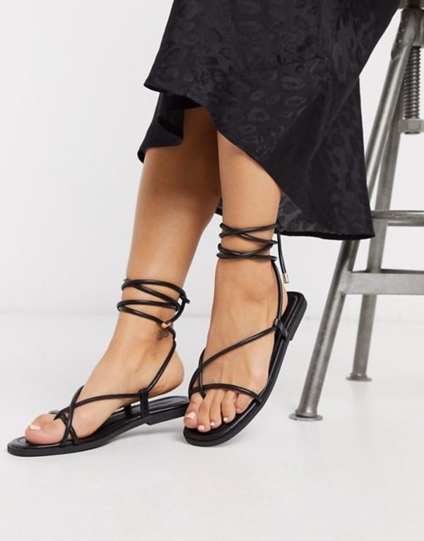 トリュフコレクション レディース サンダル シューズ Truffle Collection square toe tie leg flat sandal Black pu