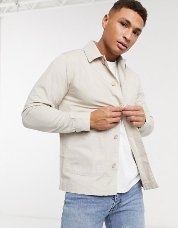 ブレーブソウル メンズ ジャケット・ブルゾン アウター Brave Soul doron worker jacket with pockets in stone Stone