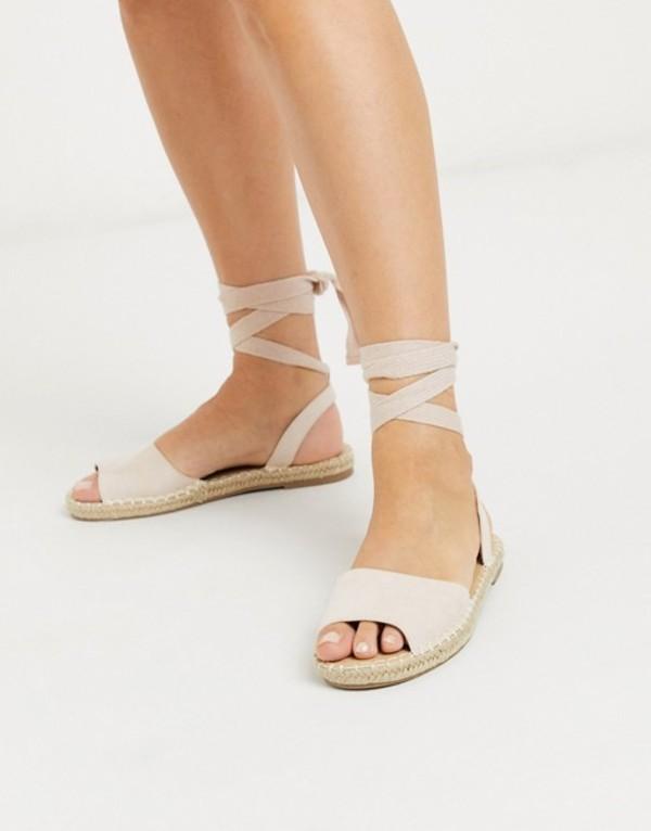 トリュフコレクション レディース サンダル シューズ Truffle Collection wide fit tie leg espadrille flat sandals Beige micro