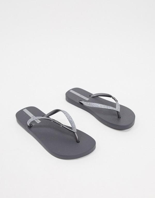 イパネマ レディース サンダル シューズ Ipanema glitter flip flop sandal in gray Graphite