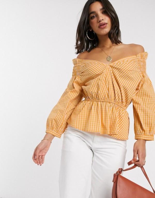 ワイエーエス レディース シャツ トップス Y.A.S off shoulder blouse with smock detail in yellow check Multi