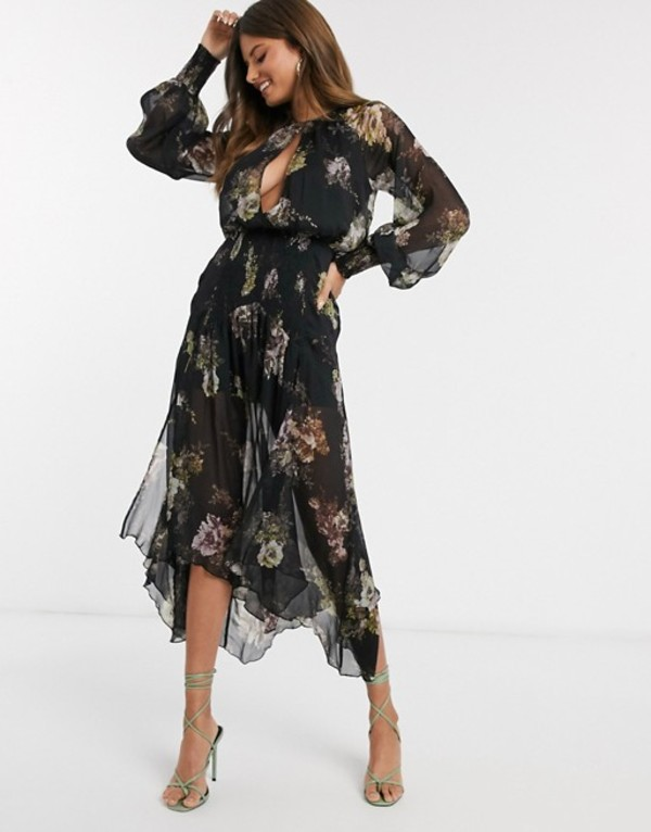 エイソス レディース ワンピース トップス ASOS DESIGN drop waist shirred floral midaxi dress Black floral