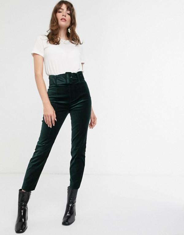 アンドアザーストーリーズ レディース レギンス ボトムス & Other Stories velvet slim pants with matching belt in bottle green Dark green