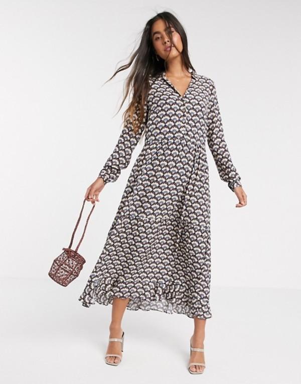 ワイエーエス レディース ワンピース トップス Y.A.S wrap midi dress in geo print Multi