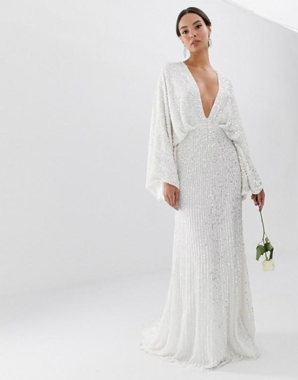 エイソス レディース ワンピース トップス ASOS EDITION sequin kimono sleeve wedding dress White
