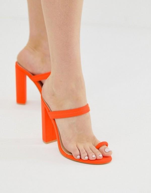シミ レディース ヒール シューズ Simmi Hailee neon orange toe loop sandals Neon orange