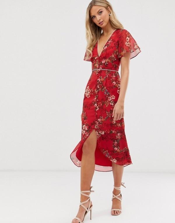 ホープ&アイビー レディース ワンピース トップス Hope & Ivy floral button front midi dress Red floral