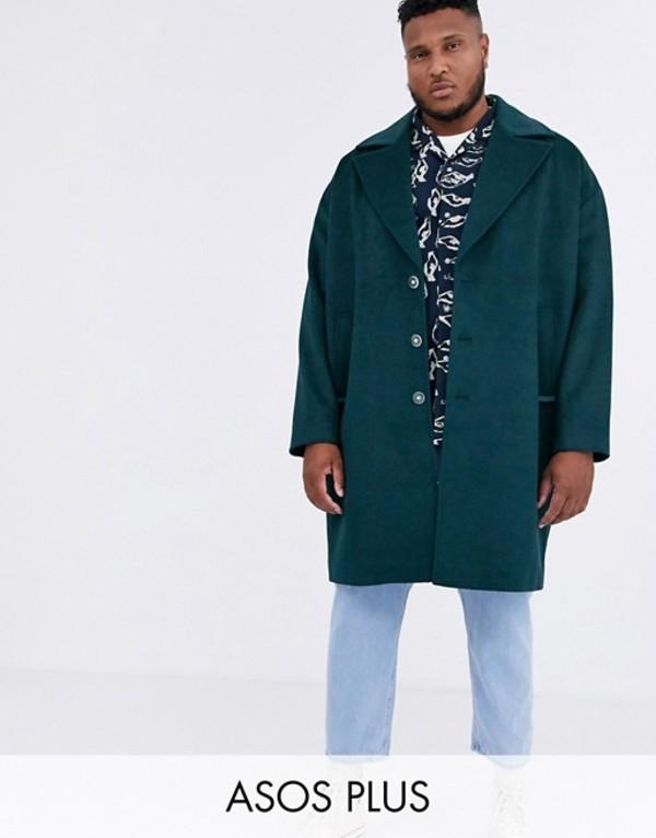 エイソス メンズ コート アウター ASOS WHITE Plus overcoat in wool mix Reflecting pond