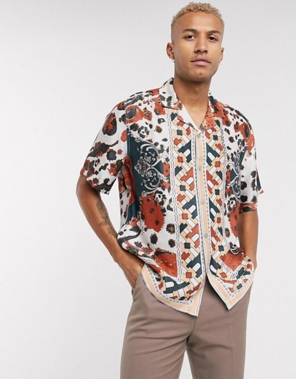 エイソス メンズ シャツ トップス ASOS EDITION geometric print shirt in border print Burgundy