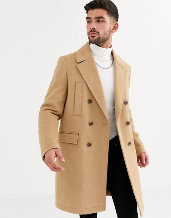 エイソス メンズ コート アウター ASOS DESIGN wool mix double breasted overcoat in camel Camel