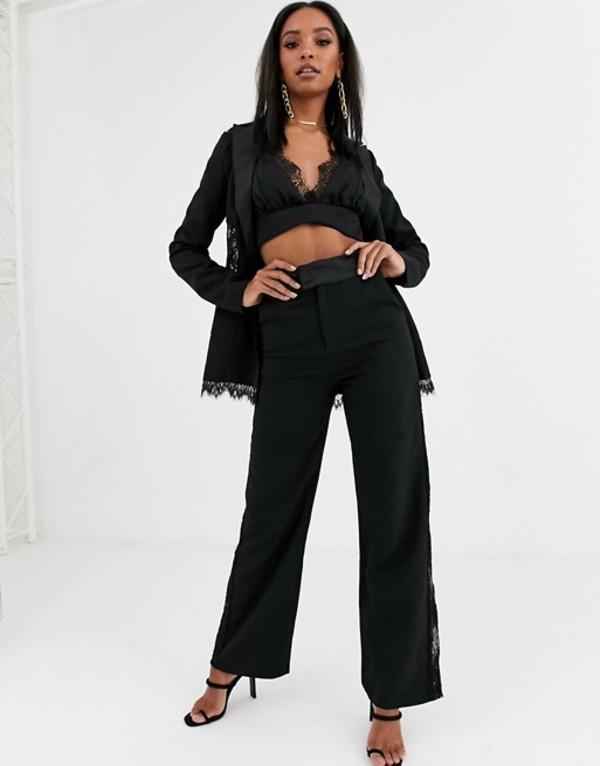 フォース&レックレス レディース カジュアルパンツ ボトムス 4th + Reckless wide leg pants with lace insert in black Black