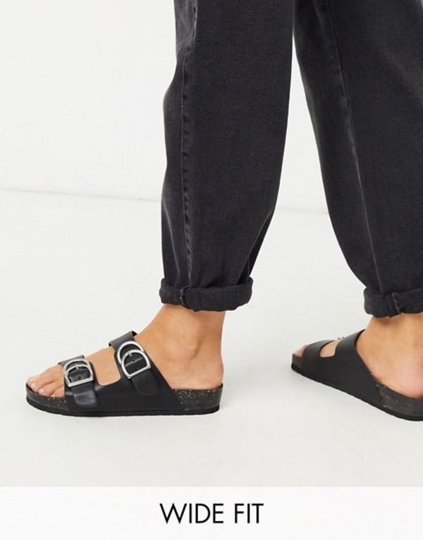 ロンドンレベル レディース サンダル シューズ London Rebel wide fit double buckle footbed sandal in black Black