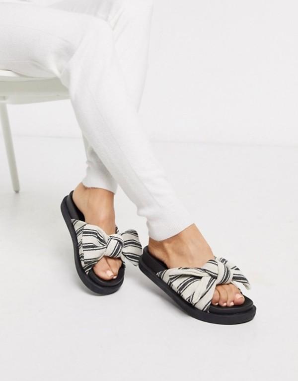 トリュフコレクション レディース サンダル シューズ Truffle Collection bow slide Beige/black textile