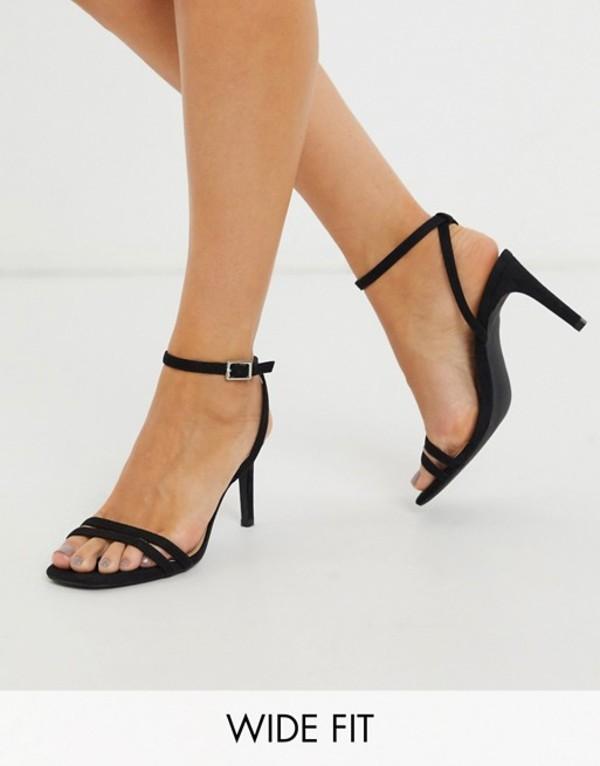 トリュフコレクション レディース サンダル シューズ Truffle Collection wide fit square toe strappy heeled sandals in black Black micro